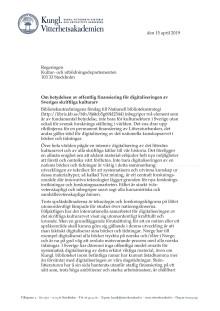 Brev till Sveriges regering om digitalisering av det skriftliga kulturarvet