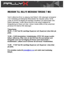Mediadag Strängnäs RallyX 7 Maj