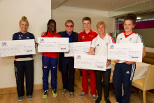 Cyclist Fred Wright and sprinter Daryll Neita from London receive £2,000 SportsAid Awards from Elton John