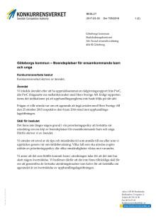 Konkurrensverkets beslut Göteborgs kommun – Boendeplatser för ensamkommande barn och unga
