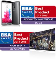 """LG's OLED-TV roses af EISA for tredje år i træk, og LG G3 udpeges til """"ADVANCED SMARTPHONE"""" 2014-2015"""