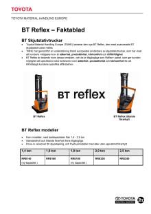 BT Reflex skjutstativtruck - faktablad
