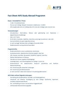 AIFS Fact Sheet zum AIFS Study Abroad Programm