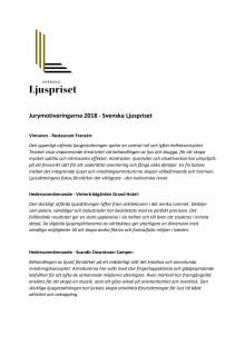 Jurymotiveringarna för årets Svenska Ljuspriset-vinnare och hedersomnämnanden