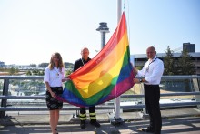 Pride flag on top at Stockholm Arlanda Airport