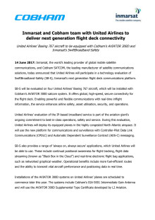 Inmarsat and Cobham team with United Airlines to deliver next generation flight deck connectivity