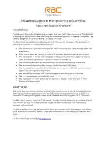 RAC Response to Transport Select Committee inquiry into road traffic law enforcement