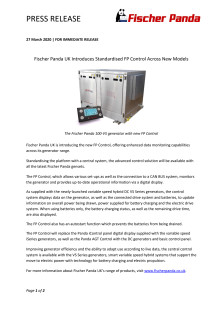 Fischer Panda Introduces Standardised FP Control Across New Models