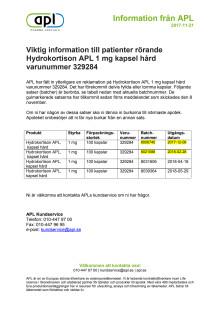 Indragning av Hydrokortison 1 mg kapsel hård - Information till patient