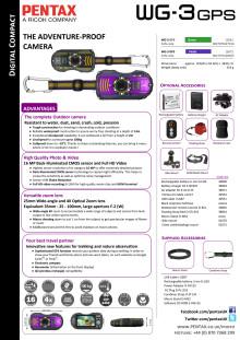 Pentax WG-3 GPS tekniset tiedot