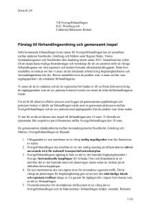 Skrivelse till Sverigeförhandlingen angående förhandlingsordning