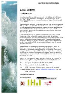 Inbjudan till Klimatsalong 15/9 kl 18.00 på Kulturhuset