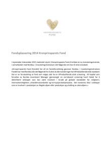 Fondsplassering 2014 Kronprinsparets Fond