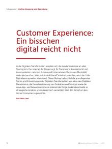 Customer Experience - ein bisschen digital reicht nicht