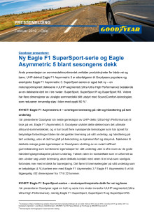Goodyear presenterer: Ny Eagle F1 SuperSport-serie og Eagle Asymmetric 5 blant sesongens dekk