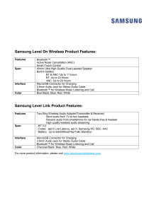 Product features Samsung Level
