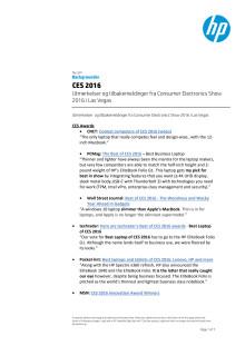 Utmerkelser og tilbakemedlinger fra CES 2016