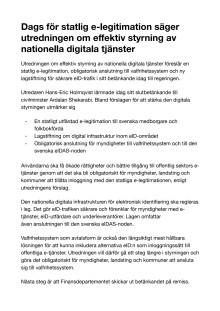 Dags för statlig e-legitimation säger utredningen om effektiv styrning av nationella digitala tjänster