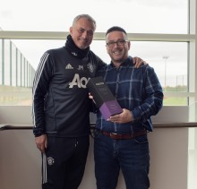 Jose Mourinho presents BT Sport Manager of the Month award to the Firbank's special one