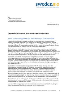 SwedenBIOs inspel till forskningspropositionen 2016