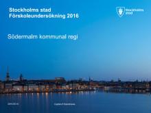 Förskoleundersökning 2016 Södermalms kommunala förskolor