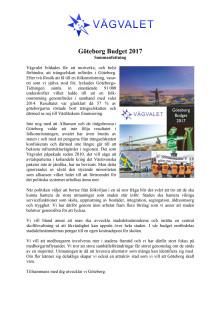Sammanfattning - Budget 2017 för Göteborg Stad