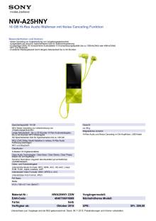 Datenblatt NWA25HNY von Sony