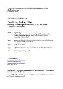 Berätta, Leka, Läsa Västerås 17 september 2014