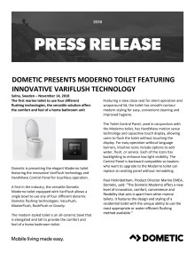 Dometic Presents Moderno Toilet Featuring Innovative VariFlush Technology