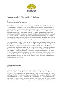 Medverkande / Biographies Ariodante