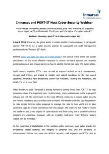 Inmarsat and PORT-IT Host Cyber Security Webinar