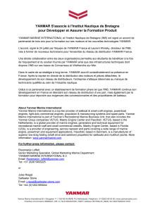 YANMAR S'associe à l'Institut Nautique de Bretagne pour Développer et Assurer la Formation Produit