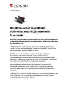 Rototiltin uudet pikaliittimet optimoivat rototilttijärjestelmän toiminnan