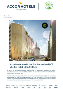 JO&JOE - AccorHotels unveils the first low carbon BBCA labelled hotel