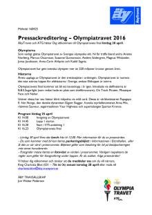 Pressackreditering Olympiatravet 2016
