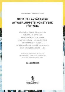 Inbjudan avtäckning årets Vasaloppsmotiv 2016