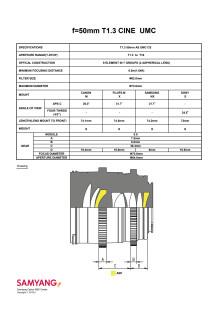 Samyang 50mm T/1,3 Cine AS UMC CS, specifikationera