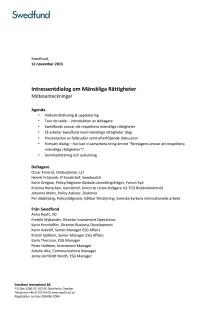 Minnesanteckningar intressentdialog Mänskliga Rättigheter