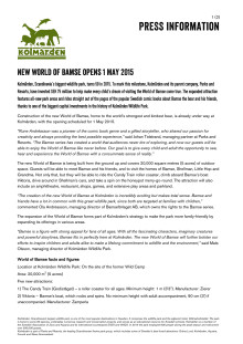 New World of Bamse opens 1 May 2015