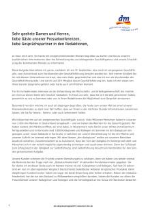 Rede Christoph Werner zur dm-Jahrespressekonferenz 2019
