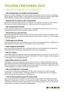 Tio steg för fossil exit  – Svebios förslag för transportsektorn