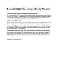 3 frågor till debutanten Khaled Alesmael