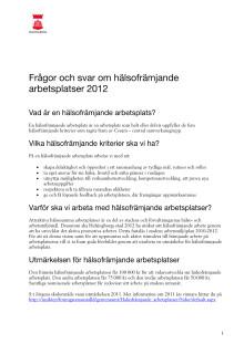 Frågor och svar om hälsofrämjande arbetsplatser 2012