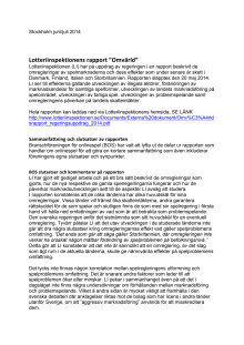 """BOS kommenterar Lotteriinspektionens rapport """"Omvärld"""""""