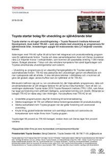 Toyota startar bolag för utveckling av självkörande bilar