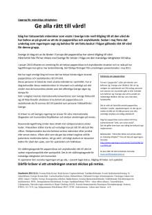 Upprop för mänskliga rättigheter- rätt till vård för alla