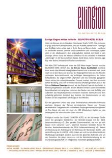 ELLINGTON HOTEL BERLIN Pressemappe