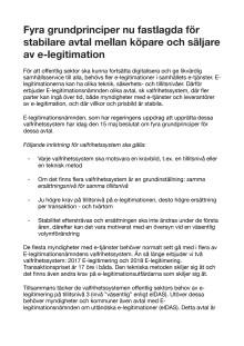 Fyra grundprinciper nu fastlagda för stabilare avtal mellan köpare och säljare av e-legitimation