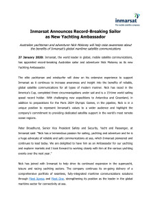 Inmarsat Announces Record-Breaking Sailor as New Yachting Ambassador