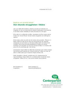 Begäran om särskild debatt - Den ökande otryggheten i Skåne